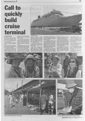 ピースボートのガダルカナル(ソロモン諸島)入港が、現地の新聞に掲載されました